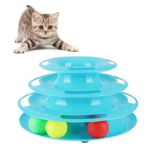 Cat Toy 3-level Tower of Tracks interactive toy blue color available in pakistan at allaboutpets.pk