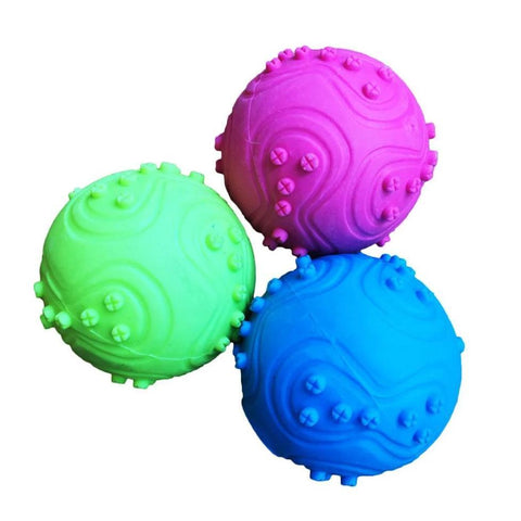 Dog Toy Squeaky Rubber Ball, dog training ball, dog toy ball pink, green, blue available at allaboutpets.pk in pakistan.
