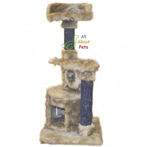 Luxury cat scratch post covered with plush fur, multi story tower penthouse available online at allaboutpets.pk in pakistan