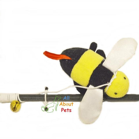 Image of Interactive Cat Teaser Toy honey bee Play Stick with string attached available at allaboutpets.pk in pakistan.