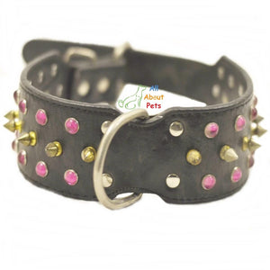 Leather Dog Collar Studded with Spikes & pink Crystals available online at allaboutpets.pk in pakistan.