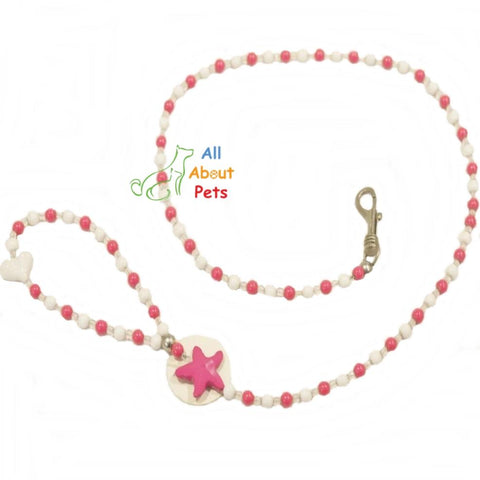 Image of Luxury Pearls Pet Dog Chain Leash pink color for Small Dogs & Cats available at allaboutpets.pk in pakistan.