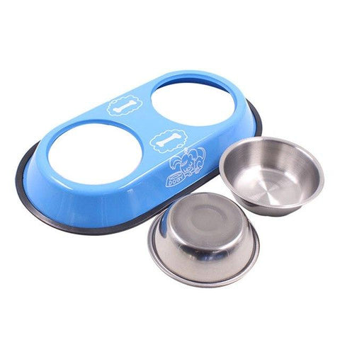 Image of Pet Feeding Double Bowl Stainless Steel Non-slip, cat feeding bowl blue, dog feeding bowl blue, allaboutpets.pk in pakistan.