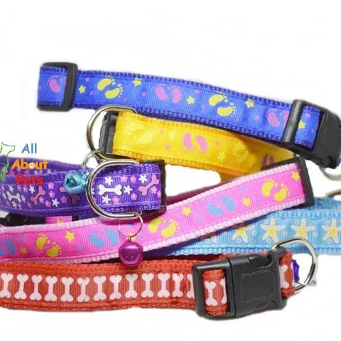 Image of Multi nylon Color Collars For Dogs - Bone & Paw Print available at allaboutpets.pk in pakistan