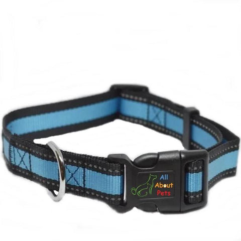 Image of Nunbell Reflective Dog Collar blue color, nylon dog collar available online at allaboutpets.pk in pakistan.