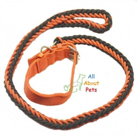 Image of Nylon Dog Collar And Leash Set for dogs red & black available online at allaboutpets.pk in pakistan.