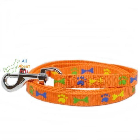 Nylon Leash Paw & Bone Print 4ft for cat and dogs orange color available at allaboutpets.pk in pakistan.