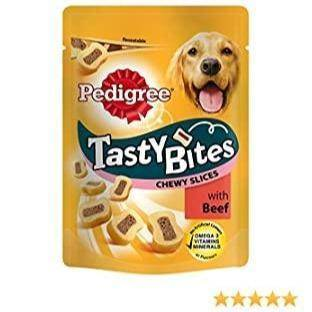 Pedigree Tasty Bites Dog Treats Chewy Slices with Beef, 155g available online in pakistan at allaboutpets.pk