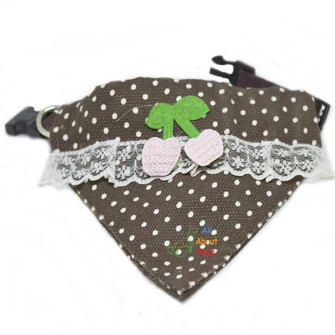 Pet Collar Scarf with lace and embroidered cherry available at allaboutpets.pk in pakistan.