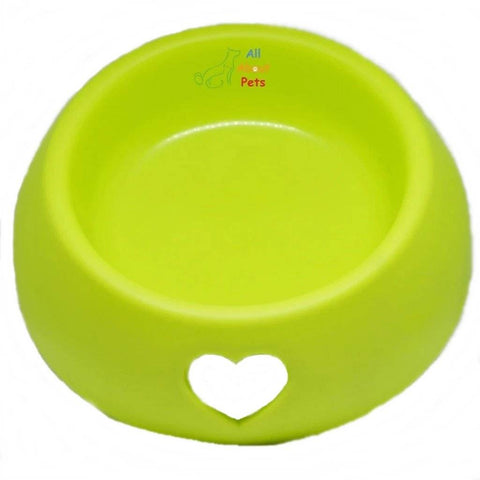 Pet Feeding Bowl Small With carved hearts for cats and dogs green color available online at allaboutpets.pk in pakistan.