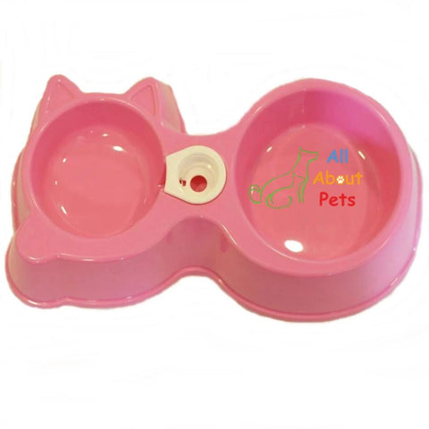Pet Food Bowl & Water Dispenser Cat Shape pink color available online at allaboutpets.pk in pakistan.