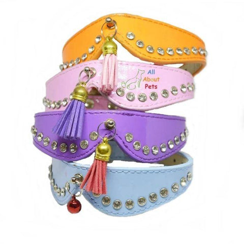 Image of Stylish Pets collars with studded crystals and tassels for cats and small dogs. available online at allaboutpets.pk in pakistan