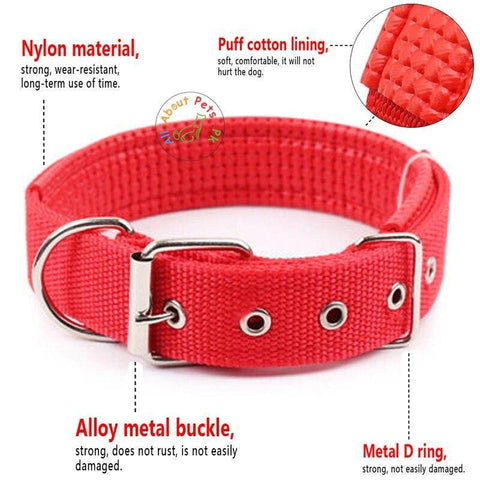 Image of Dog Collar Soft Nylon Padded Adjustable Collars red color size chart available in Pakistan at allaboutpets.pk