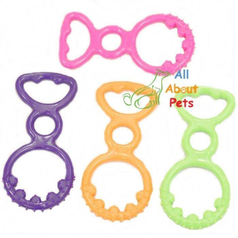 Image of Puppy silicon Teether toy pink, purple, orange and green colors available at allaboutpets.pk in pakistan.