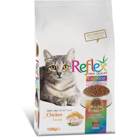 Reflex Adult Cat Food Multi Color Chicken - 1.5 KG available at allaboutpets.pk in pakistan.