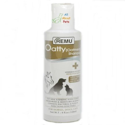 Remu Oatty Shampoo For Dogs, deodorizes & moisturizes scaling and common bacterial & fungal infections effectively available online at allaboutpets.pk in pakistan.