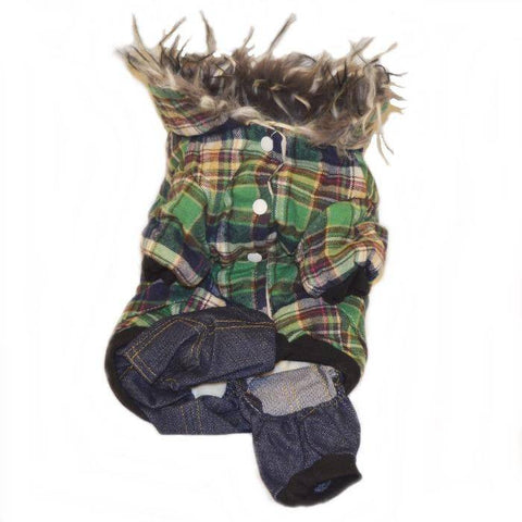 Small Dog Green Checkered Snowsuit Pet Winter Fleece Lined Coat Water-resistant Puppy Hoodie Warm Parka Cold Weather Hooded Jumpsuit available at allaboutpets.pk in pakistan