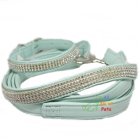 Image of jewelry Soft leather Dog collar and leash turquoise color bling diamante available at allaboutpets.pk in pakistan