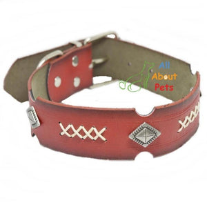 Soft Leather Studded Dog Collar Red color available at allaboutpets.pk in pakistan.
