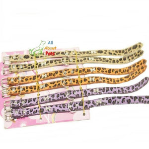 Studded Dog Collar Cheetah Prints off white, orange and purple colors available at allaboutpets.pk in pakistan.