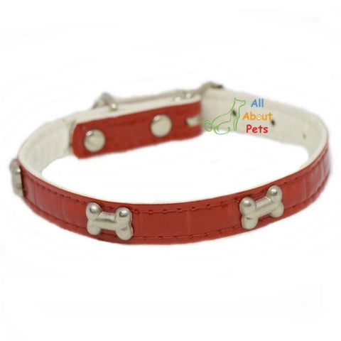 Image of bone shape Studded Reflective Collars for Small Dogs red color available at allaboutpets.pk in pakistan.