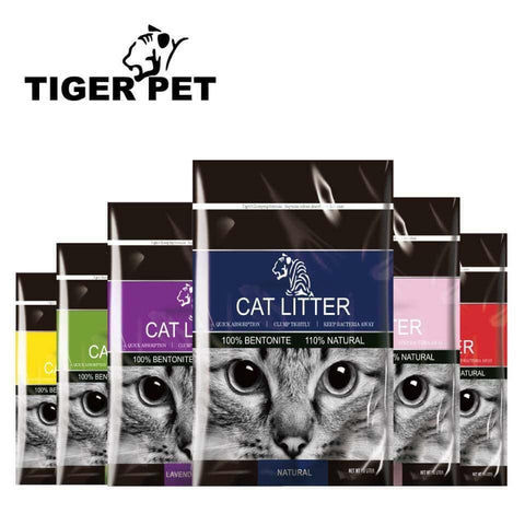 Tiger Pet Cat Eye Litter Multi Scented, Quick Absorption Anti Bacterial 100% Bentonite Round Shaped with Thigh Clumping Available in Coffee, Apple, Rose, Lavender, Peach, Nature & Lemon scented available at allaboutpets.pk in pakistan.