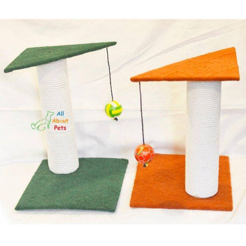 Image of Cat Scratch Post With Ball, green scratch post, orange scratch post, cat play toy available at allaboutpets.pk  in pakistan.