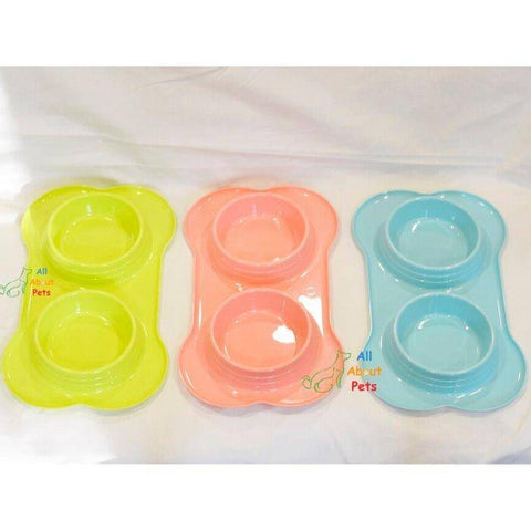 Bone Shaped dog and cat feeding Double Bowl green, blue, peach color Large size available online at allaboutpets.pk in pakistan.