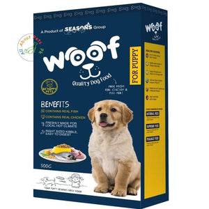 Woof Puppy Food – Be Happy Pets 500g From the house of Seasons & Menu Foods Pakistan, menu dog food available at allaboutpets.pk in pakistan.