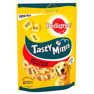 Pedigree Tasty Minis Beef & Poultry Slices Dog Treats 155g available at allaboutpets.pk in Pakistan