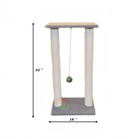 Cat  tree Scratch Post With 2 Poles & Top With Toy Ball available in Pakistan at allaboutpets.pk