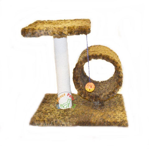 Image of Plush leopard print Cat Tree  Round cylinder and pole with Top and Ball with bell inside available in pakistan at allaboutpets.pk