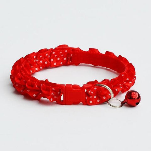 Image of lace collar polka dots with bell for cat & dogs red color available in pakistan at allaboutpets.pk