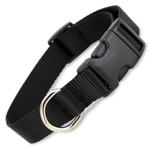 Black dog Collar nylon adjustable. Fully adjustable, with a welded steel D-ring and heavy duty side release clasp. Adjusts from 14-24 inches. 1.25 inch width. 100% heavy duty nylon collar available at allaboutpets.pk in pakistan.