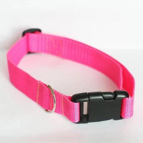 Pink dog Collar nylon adjustable. Fully adjustable, with a welded steel D-ring and heavy duty side release clasp. Adjusts from 14-24 inches. 1.25 inch width. 100% heavy duty nylon collar available at allaboutpets.pk in pakistan.