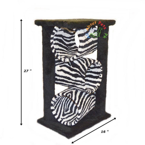 Image of Cat Scratch post plush tiger print,  with 3 cylinders , 2 Poles & Top available in pakistan at allaboutpets.pk