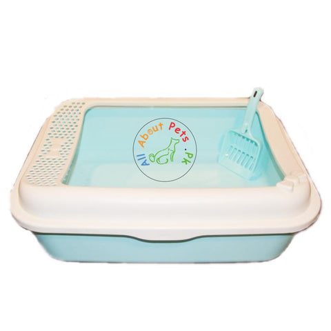 Cat Litter Tray With Scoop Small & Large Size, in sea green, peach and beige color available at allaboutpets.pk  in Pakistan