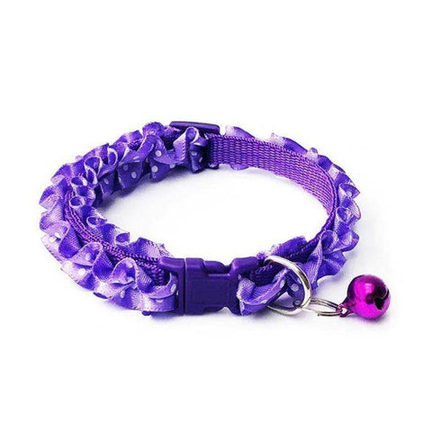 Image of lace collar polka dots with bell for cat & dogs Purple color available in pakistan at allaboutpets.pk