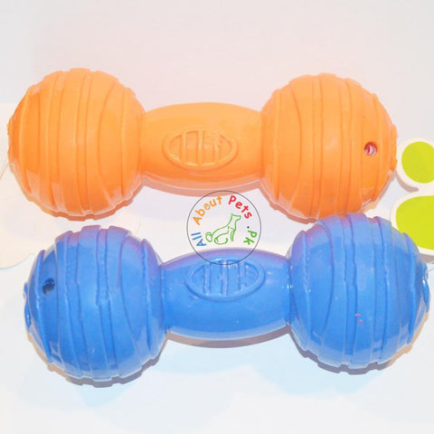 Image of Puppy Dumbbell Squeaky Teether Toy orange and blue color available at allaboutpets.pk in Pakistan