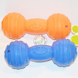 Puppy Dumbbell Squeaky Teether Toy orange and blue color available at allaboutpets.pk in Pakistan