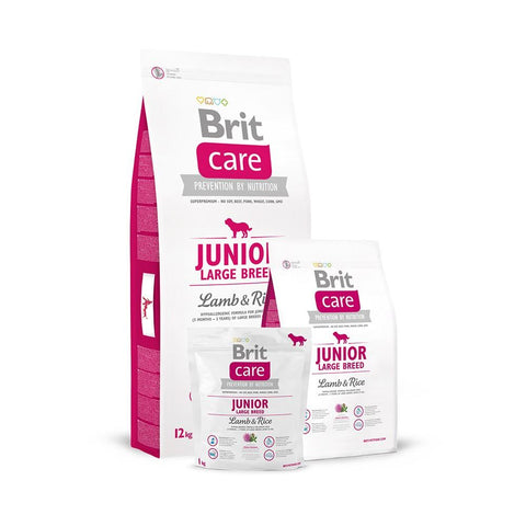 Image of Brit Care Junior Large Breed Lamb n Rice For Dogs, dog food, 3kg, 12kg available at allaboutpets.pk in pakistan.