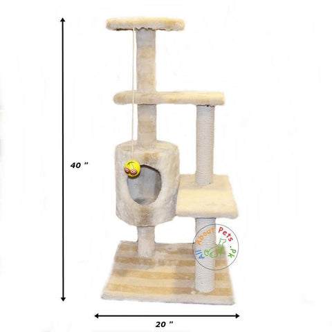 Cat Scratch Post Plush 3 Level Tree House with Ball
