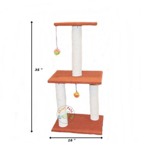 Cat Scratch Post Tree With 3 Poles, Center Top & 2 Toy Balls available in Pakistan at allaboutpets.pk