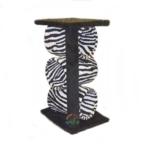 Image of Cat tree  plush tiger print,  with 3 cylinders , 2 Poles & Top available in pakistan at allaboutpets.pk