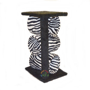 Cat tree  plush tiger print,  with 3 cylinders , 2 Poles & Top available in pakistan at allaboutpets.pk