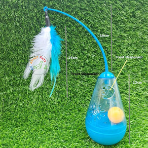 Cat Interactive Tumbler Toy With Feather & Bell Treat Dispenser available at allaboutpet.pk in Pakistan