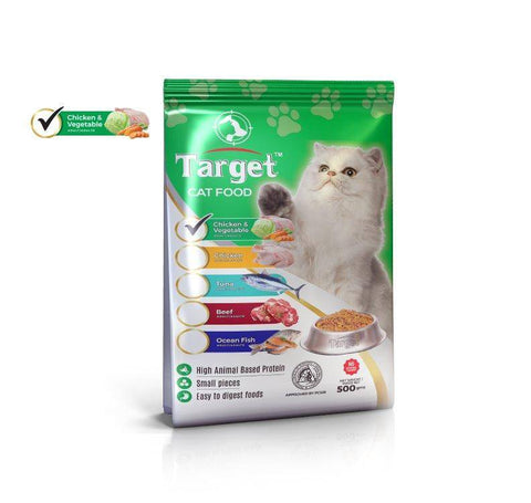 target cat food chicken & vegetable 500g, persian cat food available at allboutpets.pk in pakistan