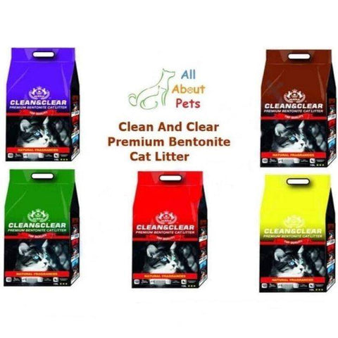 Clean And Clear Premium Bentonite Cat Litter Apple, Lemon, Lavender, Coffee & Rose Fragrance 10L available at allaboutpets.pk in pakistan