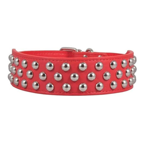 Image of Studded Dog Collar Double Row Red color available at allaboutpets.pk in pakistan.