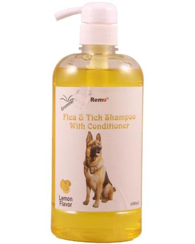 Image of Remu Dog Groomer Shampoo lemon Conditioner 600ml, Smooth & Shiny Coat, Flea & Tick Control available at allaboutpets.pk in pakistan.